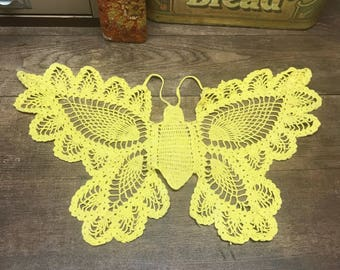 Vintage Butterfly Doilie Wall Hanging Yellow