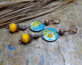 Bohemian and rustic, yellow and blue earrings, enameled copper and Lampwork, copper metal beads.