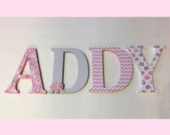 Wood Letters-Nursery Decor- Pink & Grey Elephant theme- Price Per Letter-Custom made -Other Colors available