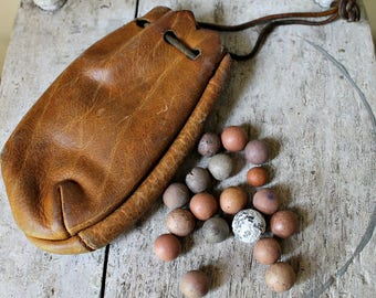 Leather Pouch with Clay Marbles