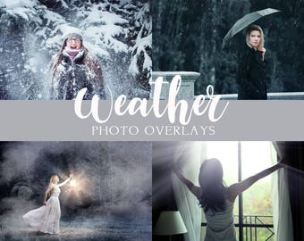 40 Weather photo overlays, Rain overlays, Snow overlays, Sun Lens Flare overlays, Fog overlays, photoshop overlays