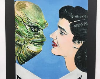 Creature from the Black Lagoon Mounted 4X6 Print of Painting Universal Monsters