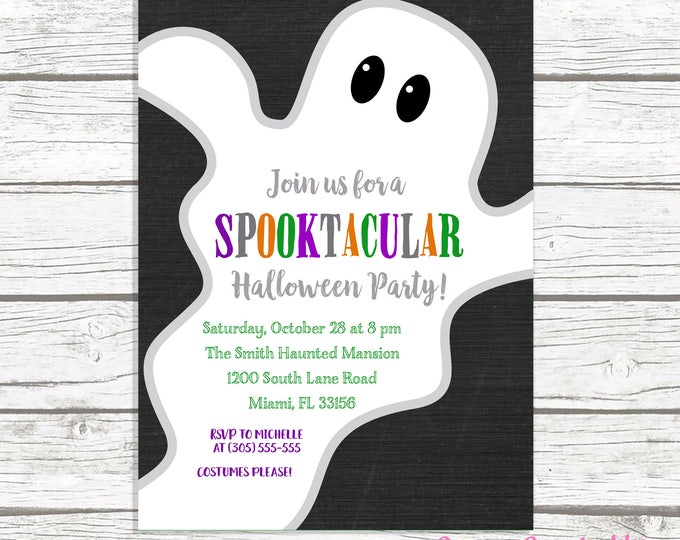 Ghost Halloween Party Invitation, Ghost Halloween Invitation, Costume Party Invitation, Ghost Invitation, Kids Halloween Invite