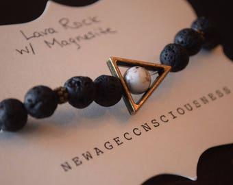 Lava Rock with Magnesite Diffuser Bracelet
