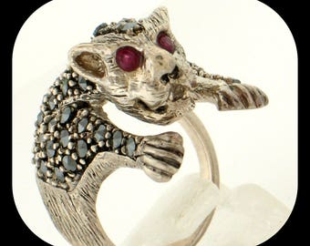 Heavy Panther RING 925 sterling silver Marcasite & Ruby Eyes