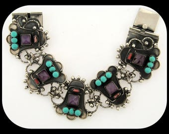 Vintage Heavy MEXICO 925 Sterling Silver Amethyst Turquoise & Coral BRACELET