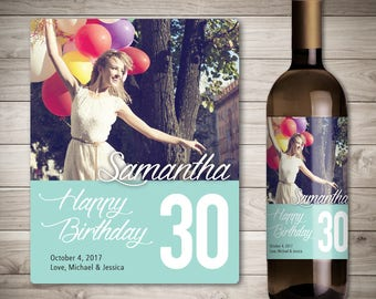 Photo Birthday Wine Label - Birthday Gift Wine Label - Custom Birthday Wine Label - Personalized Wine Label - Birthday Party Wine
