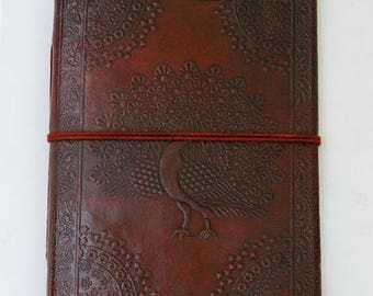 Peacock notebook, handmade diari, handmade notebook, leather travel book, notepad with wrap, leather notepad, travel journal, natural paper