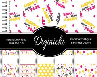 Happy New Year - Pink - Digital Covers for Goodnotes Digital Planners and Journals - PNG & Printable