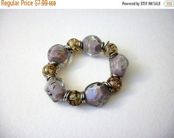 ON SALE Vintage Heavier Chunky Lamp Work Glass Beads Stretch Bracelet 63117