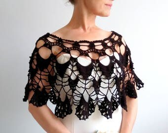 Black summer poncho, black capelet, lacy poncho, bridal poncho, wedding poncho, gift for her, fast shipping, ready to ship