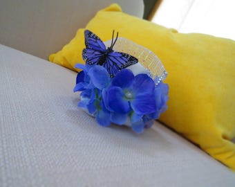 Blue Butterfly Bridal Clip-On Fascinator