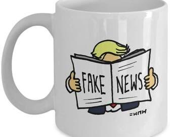Trump Fake News Gift Mug // Funny Trump Meme Coffee Cup // Cartoon Mug GIfts