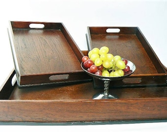 """Three Vintage Solid Wood Trays - Rectangle Square Shape - Nests for Storage - Tea Tray/Snacks/Project/Vanity/Bathroom Organizer 21""""/Set of 3"""