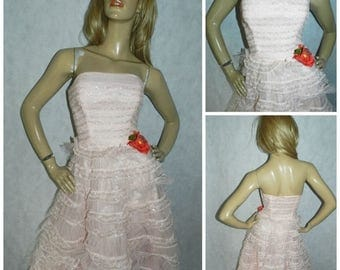 Vintage ORIGINAL 1950s BLUSH Pink/silver strapless lace net tulle cupcake prom WEDDING dress 8 Frothy frills 50s tiered full skirt