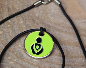 Lime Green Babywearing token black cord necklace