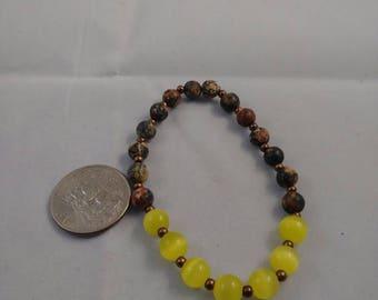 Yellow cats eye, copper, and gemstone bead bracelet, beaded bracelet, stretch bracelet