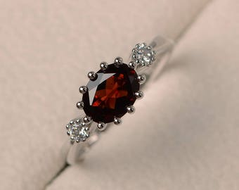 Wedding ring, natural garnet ring, red gemstone, oval cut gemstone, January birthstone
