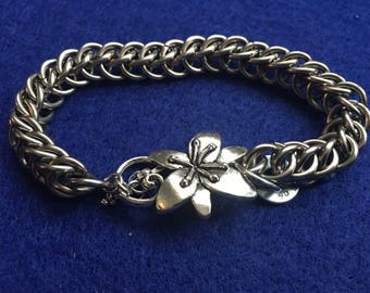 Flower Toggle Clasp Stainless Steel Bracelet
