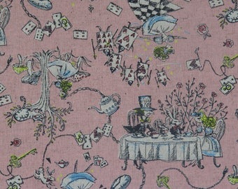 1 meter Kei Fabric Japan - Alice In Wonderland - MIYAKO-013 - Color E - Pink - Cotton Linen
