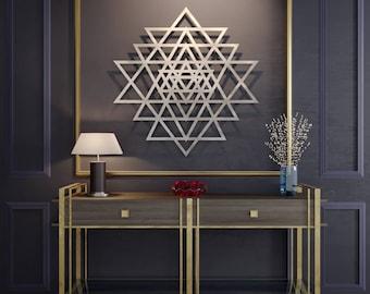 Sri Yantra Metal Wall Art, Sacred Geometry Metal Wall Art, Spiritual Wall Decor, Yoga Wall Art, Yoga Wall Decor, Modern Metal Wall Sculpture