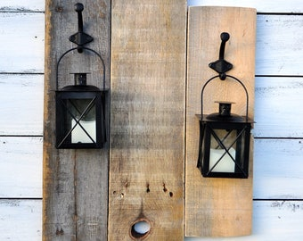 Decorative lanterns / rustic wall decor / Rustic chic decor / candle lantern decor / primitive country decor / wood wall decor / cabin decor