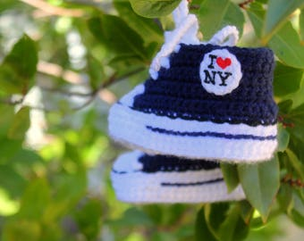 I Love New York BABY shoes, I love NY baby converse, Crochet Baby SHOES