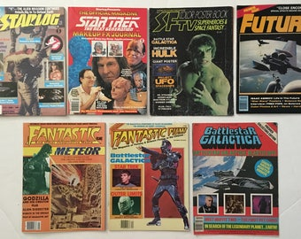 Lot of 7 Starlog, Fantastic Films, Future, and Sci-Fi Magazines / Poster Books 1970s to 1990s