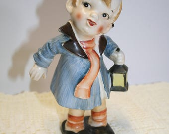 Lipper & Mann Creations; large; boy with lantern figure; hand painted; B-16