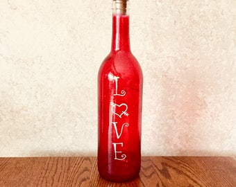 Sweetheart Wine Bottle Decoration with or without Lights, Love Wine Bottle Decor, Wine Bottle Crafts, Wedding Centerpieces