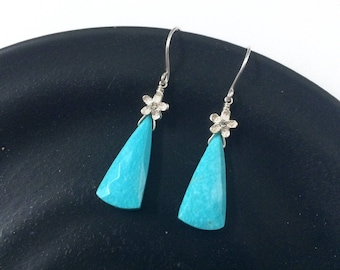 Sterling Silver Double Sided 3D CZ Flower and Blue Turquoise Faceted Briolette Dangle Earrings