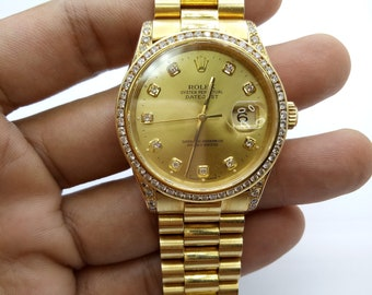 Rolex Oyster Perpetual Datejust 16233 18K Gold Diamond Men's Watch