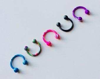 Circular Barbell | Horseshoe | Horse Shoe | Marble | Swirl | Striped | Multi Coloured | Septum | Ear | Piercing | Body Jewellery