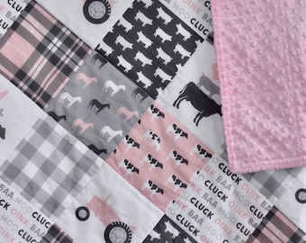 SHIPS TOMORROW - SALE - Farm Life in Pink, pink and grey, baby girl nursery, farm nursery, cows, pigs, horses, rooster, tractor, barn