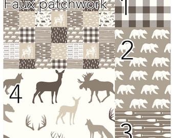 Custom crib bedding , Lumberjack, bear,  woodland nursery, beige bedding, monochromatic, bou nursery, modern nursery, quilt, bumpers, deer,