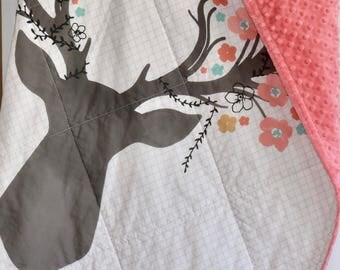 large deer head, Woodland Baby Quilt, Woodland Nursery, Modern Quilt, Minky, Blanket, deer, fawn, doe, going stag, coral, gold, floral