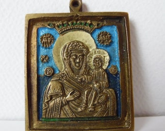Russian Antique Orthodox Bronze Enamel Icon.أيقونة