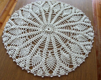 "Large Ecru Lace Doily, Round Crochet Ivory Doily, Boho Decor Craft, Lace Centerpiece 24"", Retro Tablecloths, Handmade Crochet Napkin"