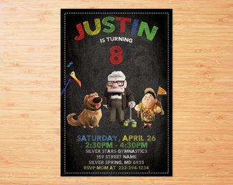 Up Invitation, Up Birthday Party, Up Movie, Balloons, Cartoon, Personalized, Printable, Birthday Party, Birthday Invitation Digital File