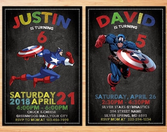Captain America Invitation, Captain America Birthday Invitation, Avengers, Superhero, Superhero Birthday Invitation, Personalized Invitation