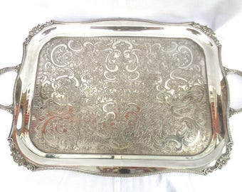 """Large Silver Plated Tray, Chased Alpha Silver Plate, Rectangular Serving Tray, Double Handled, Viners of Sheffield, 22.25"""" x 14"""", Immaculate"""
