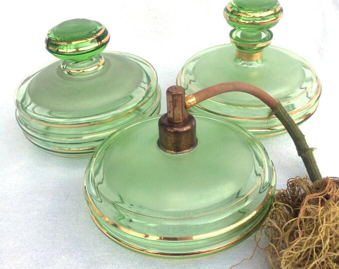 Czech Bohemian Vanity Set, Glass Dressing Table Set, Perfume Atomiser, Powder Jar, Scent Bottle, Green Glass Gold Gilt Edge, Circa 1930