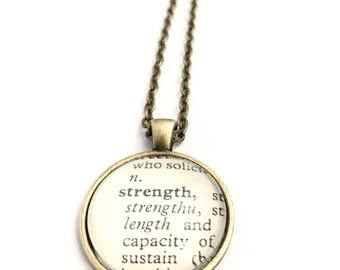 STRENGTH Vintage Dictionary Word Pendant
