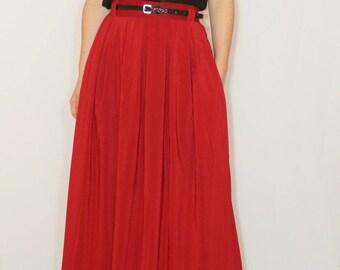 Bridesmaid skirts Wine red maxi skirt Women Chiffon skirt High waisted long skirt with pockets