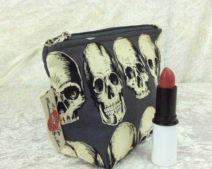 Gothic Skulls Zip Case Bag Pouch fabric Alexander Henry Rad Skull Handmade in England