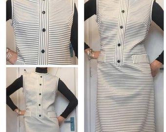 1960s monochrome black white striped shift dress uk 12