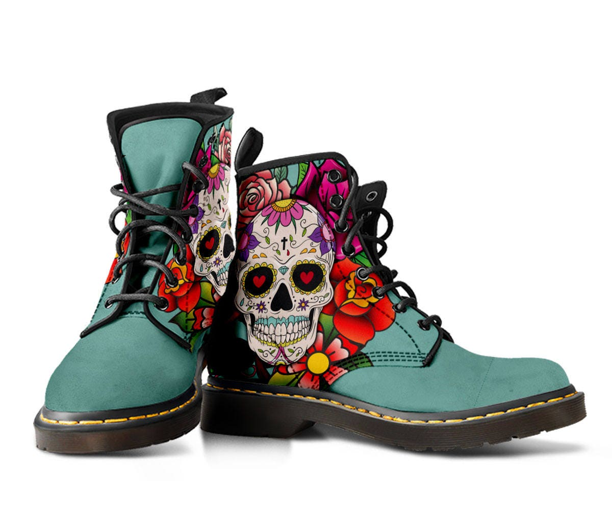 Sugar Skull Tattoo Womens Boots Gothic Gorey Awesome Suede
