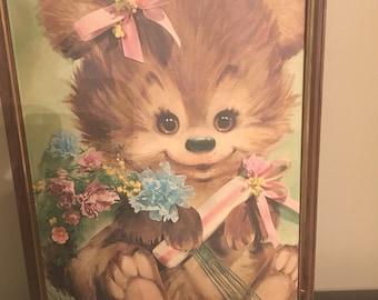 Vintage 1960s Cute Kitsch Baby Animal Teddy Bear Print Frame
