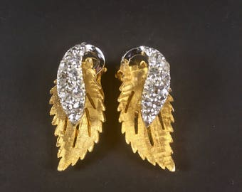 Clip On Rhinestone Earrings, Vintage Gold Tone, Silver Tone Accents, Leaf Shape Earrings, Gold Clipon  Earrings