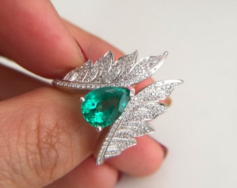 1.8 Carat Emerald Engagement Ring Wing Ring Angel Ring White Gold Ring Emerald Diamond Ring
